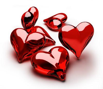 Cuori di vetro rossi